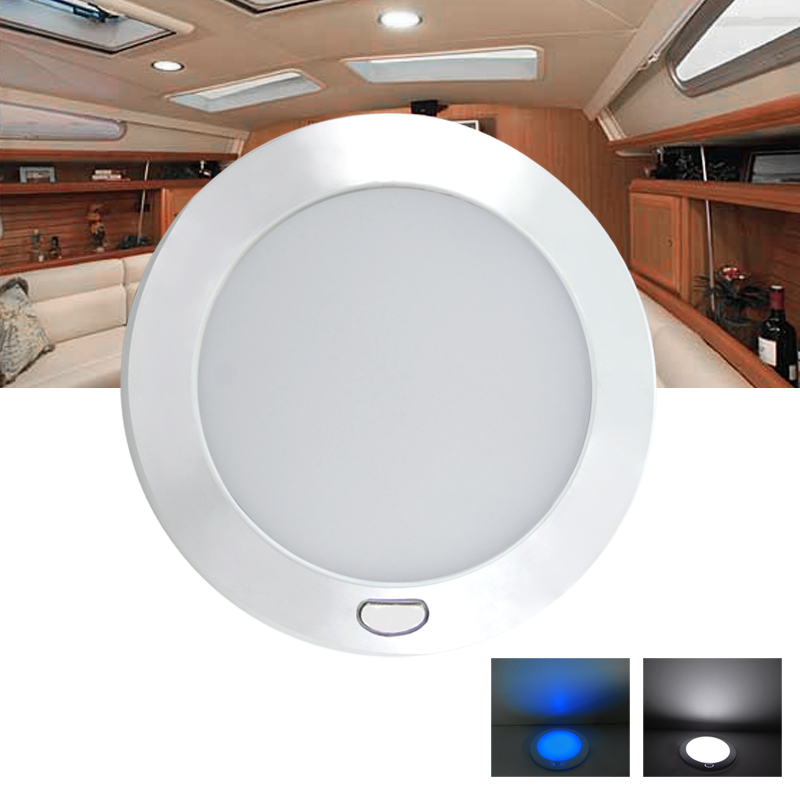 "12V 5"" Cool White/Blue Silver Shell 2-Phased LED Ceiling Light"