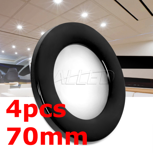 4x12V Cool White 70MM Black Shell LED Recessed Downlight