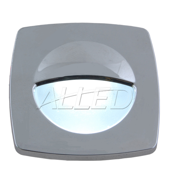 Silver Plate LED Square Courtesy Light-Cool White