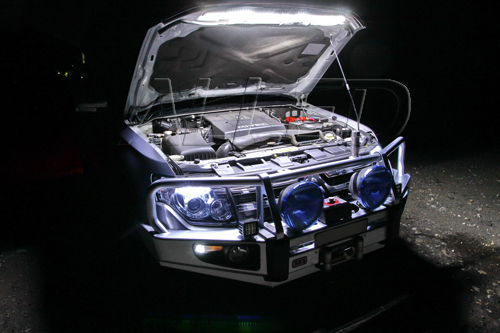 Led strip light under bonnetcar hootinstallation some people will say that why can i just mounted a worklight under bonnet with chargeable hooks of course you can mount it but this led strip light is aloadofball Image collections
