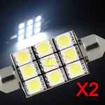 2X 39mm Festoon 9-SMD-LED Replacement Bulb