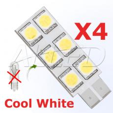 4Set T10 Cool white 6-SMD-LED Replacement Bulb
