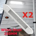 2Set White Shell 250MM Cool White LED Awning Light
