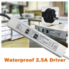 LED Waterproof 2.5A LED Driver With Mains power Adaptor