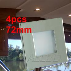 4x12V 72MM LED Square Recessed Ceiling Down Light Cool White