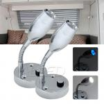 2X12V Flexible Cool White Task LED Reading Lamp Bedside Lamp Boat/Caravan/Laptop/Book/Ipad/RV