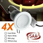 4X240v 13W Warm White Chrome LED Courtesy Down Light Home/Domestic/Hotel