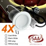4X240V 13W Cool White Chrome LED Down Light with Plug