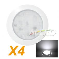 4X12V 76MM White shell Cool White LED Panel Light Cabinet Roof Lamp Caravan/Camper Trailer/Car/RV