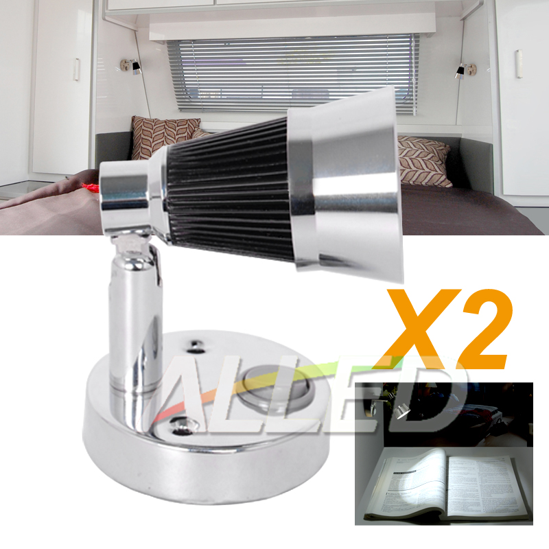 Caravan Interior Wall Lights : 2X12V Cool White LED Swivel Reading Light Interior Bedside Book Chart Ipad Lamp RV_LED Caravan ...