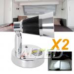 2X12V Cool White LED Swivel Reading Light Interior Bedside Book Chart Ipad Lamp RV