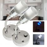 2X12V Cool White/Blue Programmed Switch Flexible Crystal LED Reading Lamp RV/Marine/Car/Trailer/Map/Bed/Wall Light