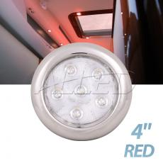 "10-30V 4"" 316 Stainless Steel LED Puck Light Red"