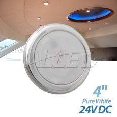 "24V Pure white/Daylight 4"" 316 Stainless Steel LED Puck Light"