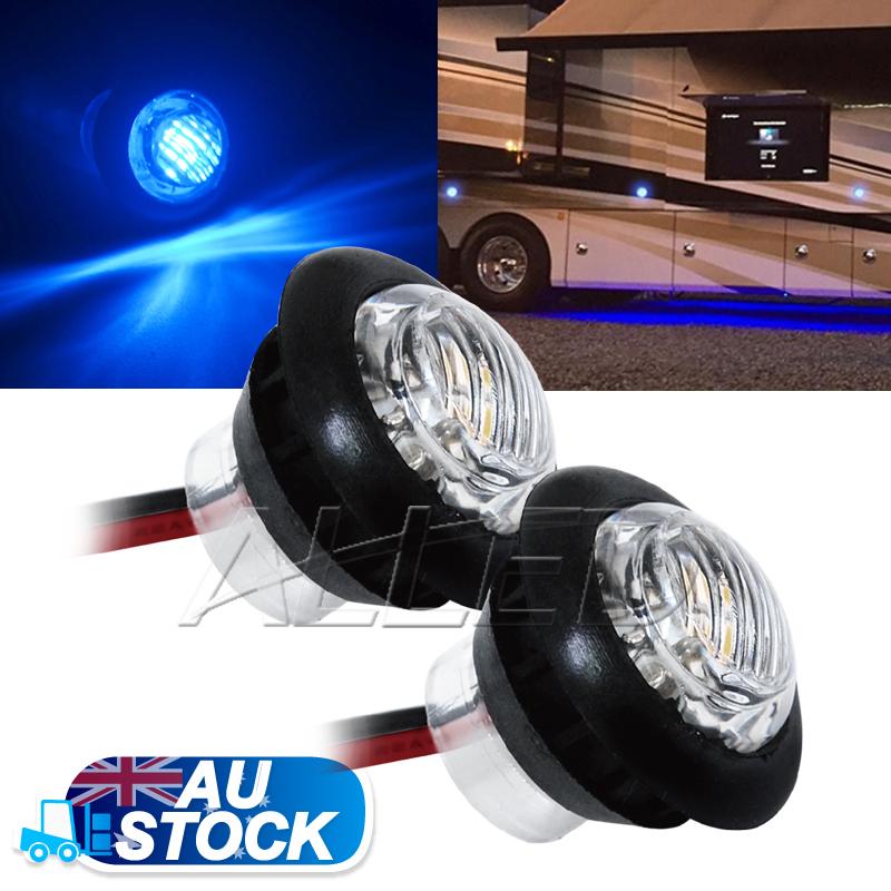 2xblue 12v led flush mount car truck trailer mini marker light