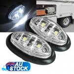 2X12V Cool White LED Side Marker Clearance Lights Indicator Trailer Truck Lamp