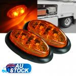 2X12V Amber LED Oval Side Marker Clearance Lights Indicators Trailer Truck Lamp