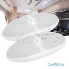 2x12VLED Double Oval Celling Light Cool white Caravan RV boat Interior Cabin Lamp