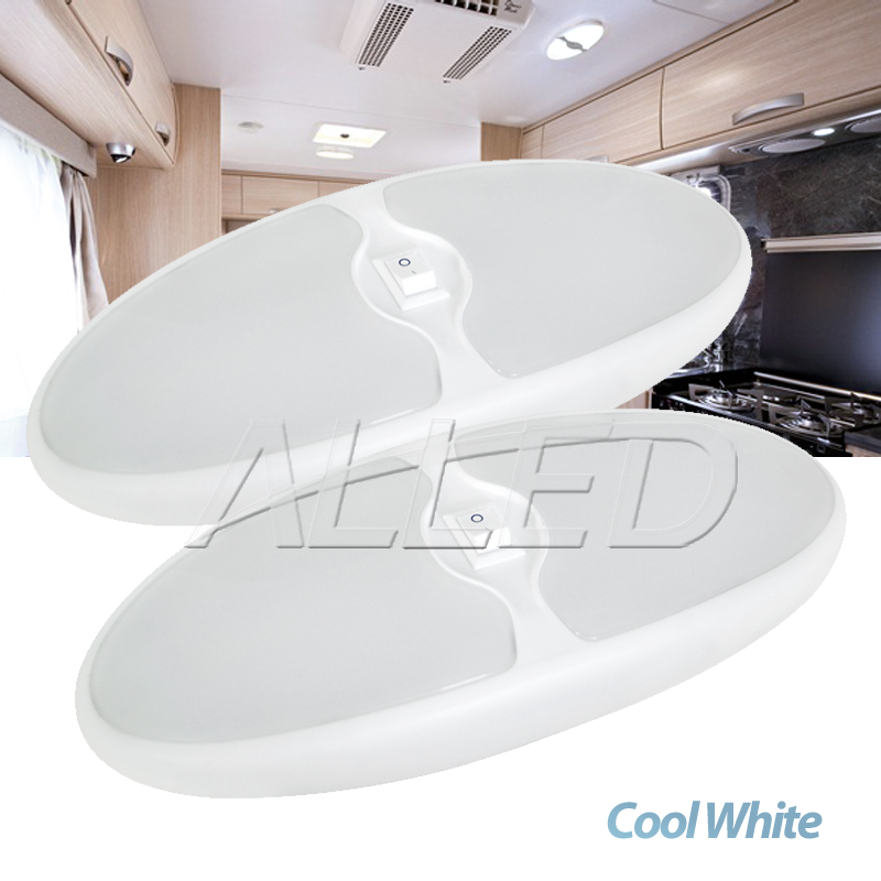 2x12vled Double Oval Celling Light Cool White Caravan Rv Boat Interior Cabin Lamp 12v Led Rv