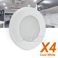4X12VDC Cool White 70mm LED Recessed Cabinet Down Light White Shell