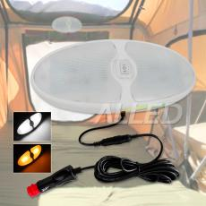 12V Coolwhite/Amber LED Oval Camping Light Kit with Cigarette Connector