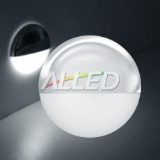 12V Cool White LED Half Round Stainless Steel Plated Step Light