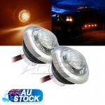 2x12v LED Amber Side Marker Light inbuilt a Stainless Steel Ring