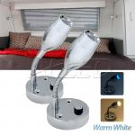 2X12V Flexible Warm White LED Reading Lamp Bedside Lamp Boat/Caravan/Laptop/Book...