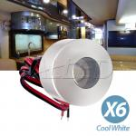 6X12V 350mA 1W LED Cylindrical Cabinet Dome Light Cool White