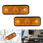2x 12v Rectangle LED Side Marker Clearance Lights Indicators Lamp Amber