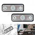2 pcs Cool White LED Side Marker Lights 3 LEDs