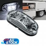 12V Cool White Oval LED Side Marker Clearance Light Indicator Trailer Trucks