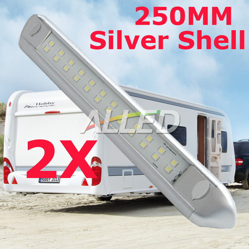 2-12V-250MM-LED-Awning-Light-Camping-Caravan-Motorhome-Trailer-Truck-RV-Vehicle